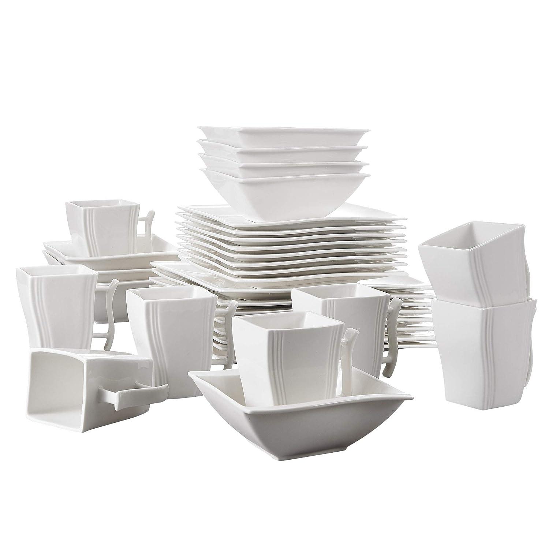 8 Assiettes Desserts 32 pi/èces Service de Table Assiettes en Porcelaine S/érie Flora 8 Bols et 8 Tasses 8 Assiettes Plates MALACASA