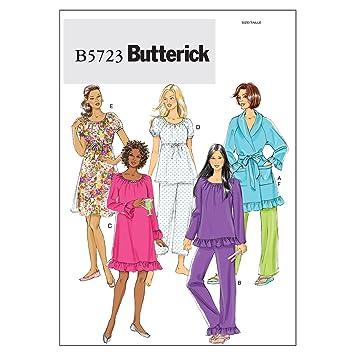 Butterick 5723 Y - Patrones de costura para confeccionar pijamas, camisones y batas para mujer (tallas de XS a M): Amazon.es: Hogar