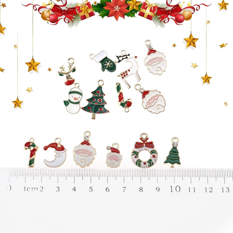 OTOTEC 40pcs Mixed Charms Christmas Pendants Ornaments Beads for Bracelet Earrings Jewelry Making Xmas Tree Decoration Kids Gift