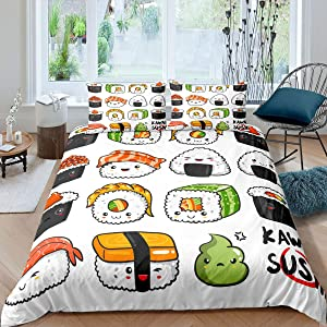 Erosebridal Sushi Pattern Bedding Set Twin, Japanese Style Duvet Cover, Food Theme Comforter Cover Set for Kids Boys Girls Teens, Cute Cartoon Japanese Sushi Bedding Room Decorative