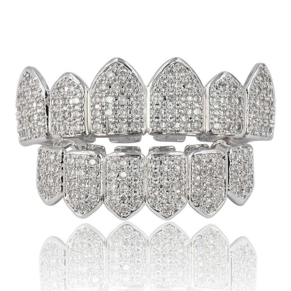 Amazon.com  ICE BOX Silver CZ Diamond Cubic Zirconia Women Men Teeth Grills  Hiphop Rocker Hollow Caps Top Bottom Fang Grills Set. Hip Hop Trending  Jewelry  ... 14eacbdf10