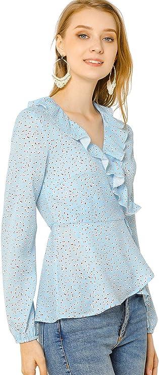 Allegra K Camisa Floral Peplum con Blusa De Lunares Cuello