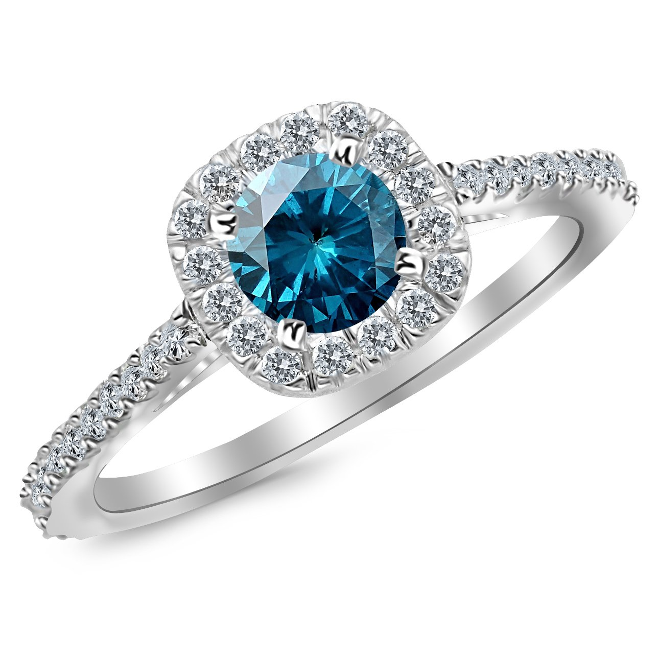 0.85 Carat 14K White Gold Gorgeous Classic Cushion Halo Style Diamond Engagement Ring with a 0.5 Carat Blue Diamond Center (Heirloom Quality) by Houston Diamond District