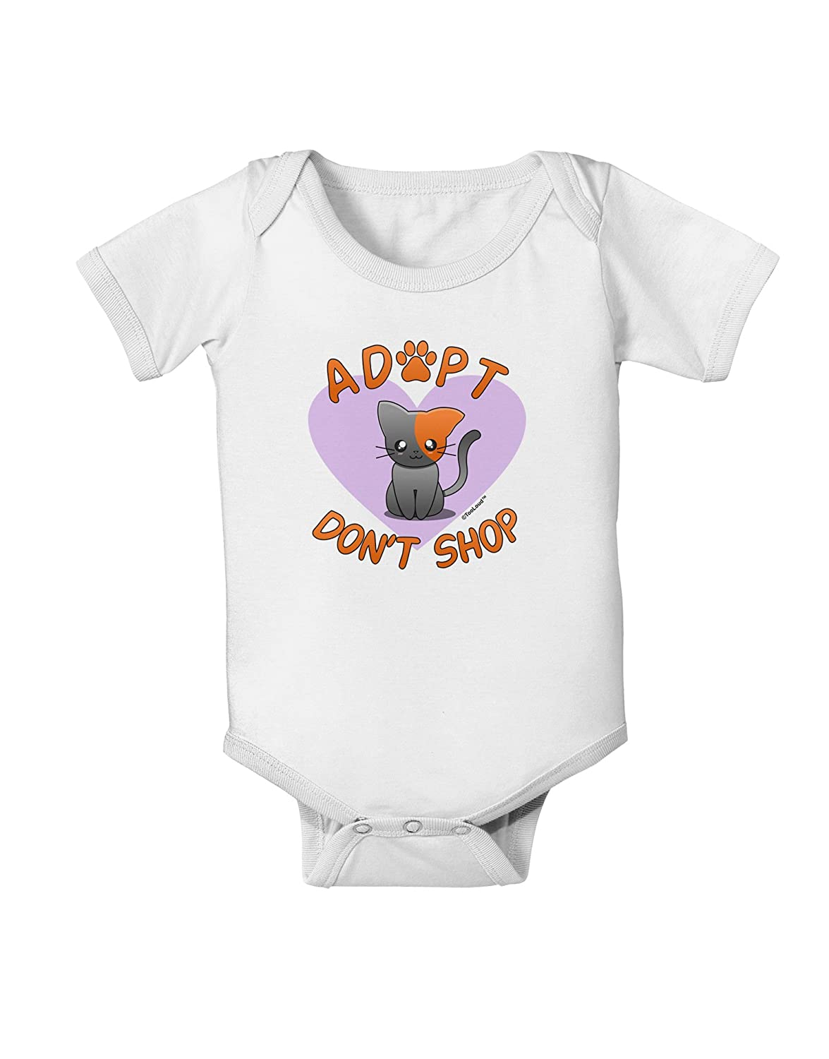 TooLoud Adopt Dont Shop Cute Kitty Baby Romper Bodysuit