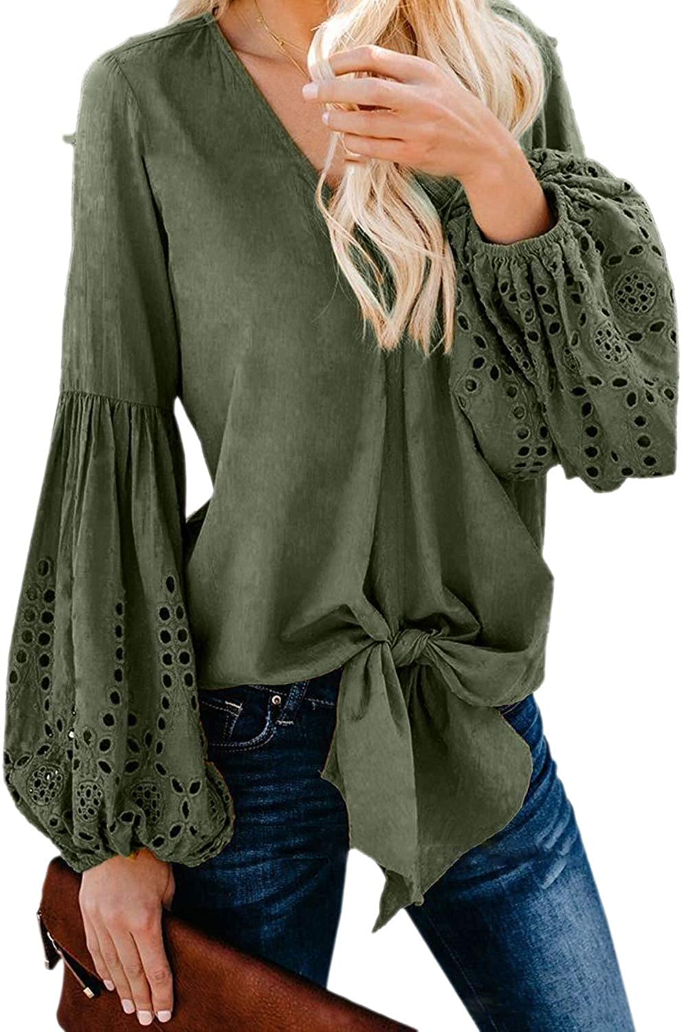 Xswsy XG Womens Casual V Neck Balloon Sleeve Hollow Out Tie Knot Loose Shirt Tops