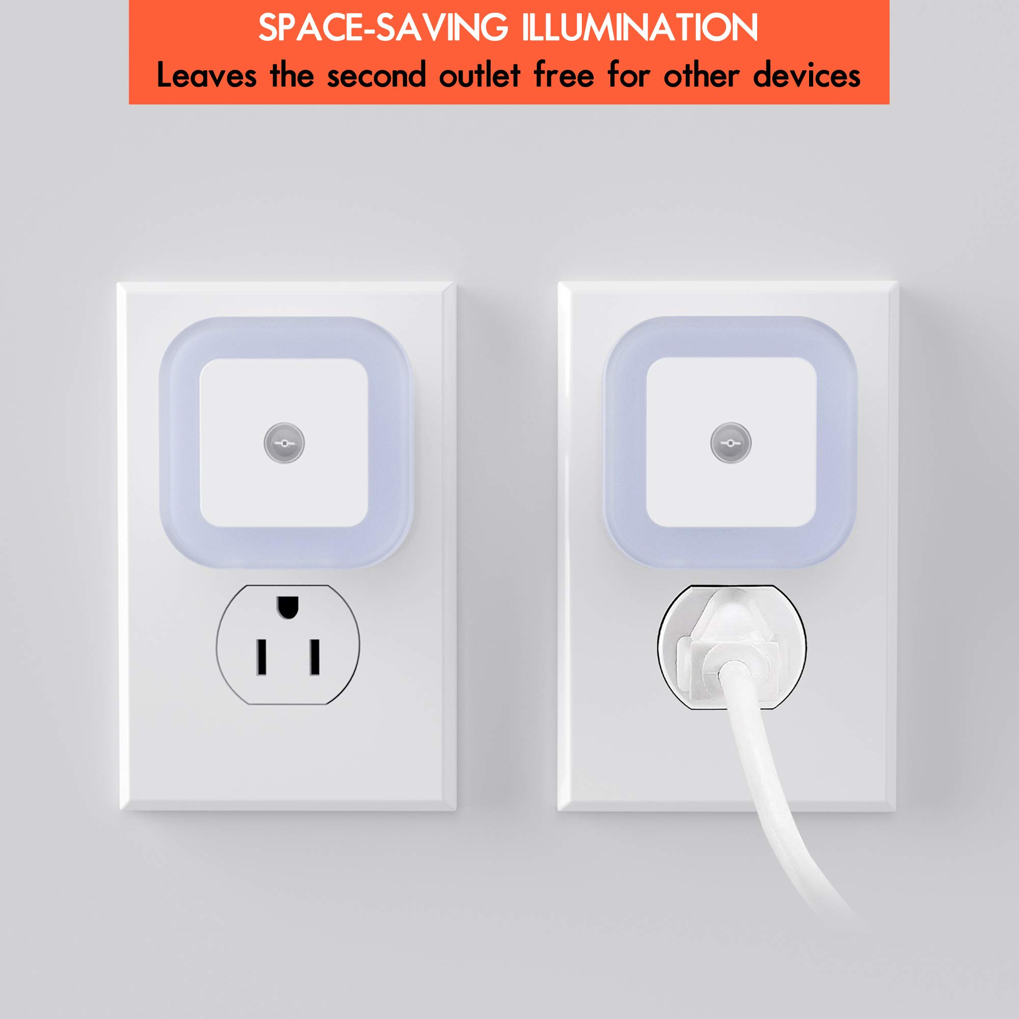 Sycees Plug-in LED Night Light with Dusk-to-Dawn Sensor for Bedroom, Bathroom, Kitchen, Hallway, Stairs, Daylight White, 6-Pack by SYCEES (Image #3)