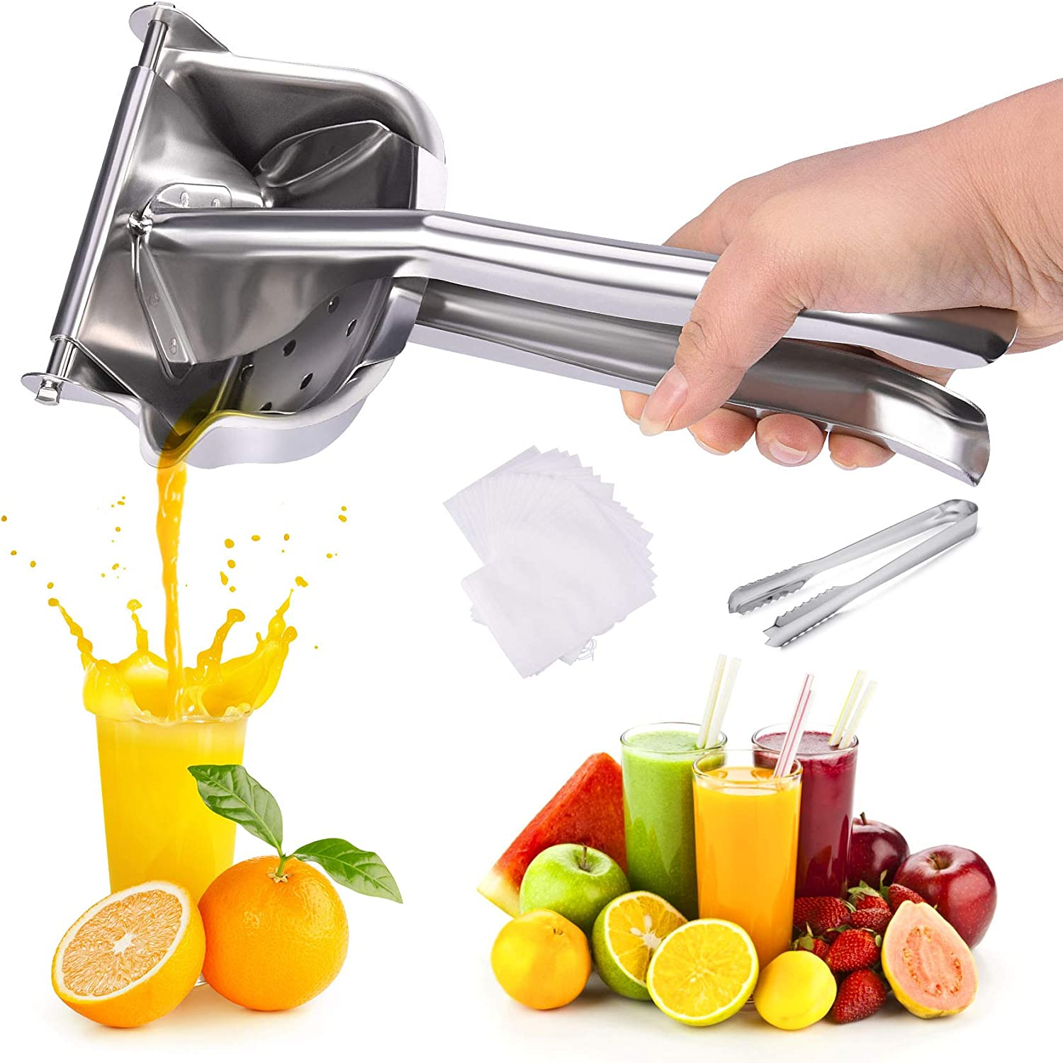 Slendor Manual Juicer Press Stainless Steel Citrus Lemon Squeezer with 60Pcs Filter Bags and Clip, Fruit Lime Juicer with Food-grade Juicing Bowl & Detachable Strainer for Oranges Lemons Extractor Tool