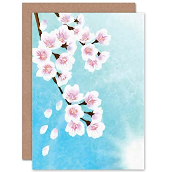Super Wee Blue Coo Cherry Blossom Floral Flower Painting Drawing Blank Personalised Birthday Cards Bromeletsinfo