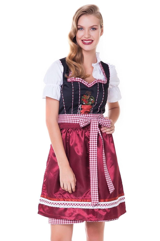 Alpenmärchen, 3tlg. Dirndl-Set - Trachtenkleid, Bluse, Schürze, Gr.32-60, schwarz-weinrot, ALM3091