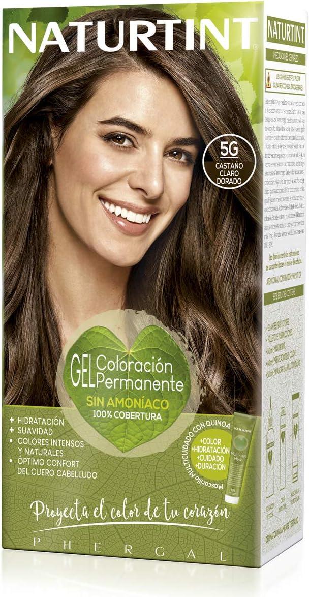 Naturtint | Coloración sin amoniaco | 100% cobertura de canas | Ingredientes vegetales | Color natural y duradero | 5G Castaño Claro Dorado | 170ml