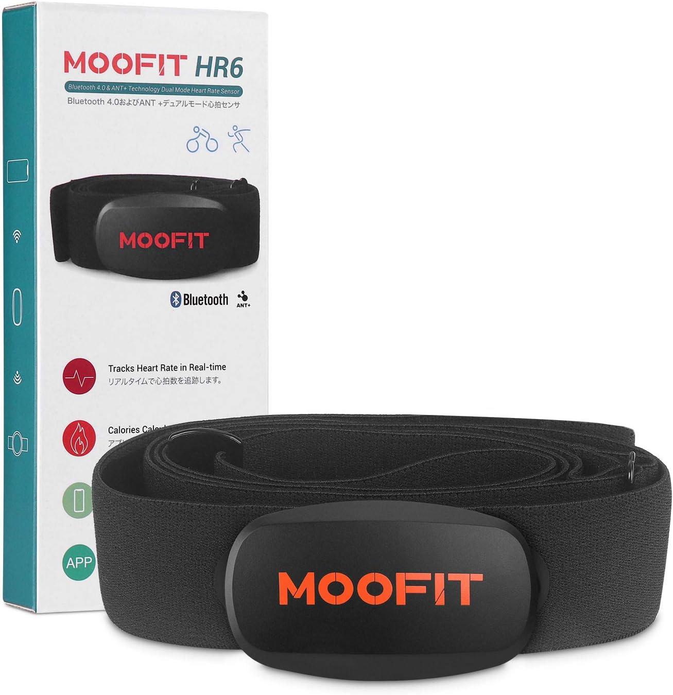 moofit Sensor de Frecuencia Cardíaca Cinta Pulsometro Bluetooth & Ant+ Pulsometro Banda Pectoral Pecho para Zwift, Wahoo, Endomondo, Openrider, Elite hrv App, iCardio: Amazon.es: Deportes y aire libre
