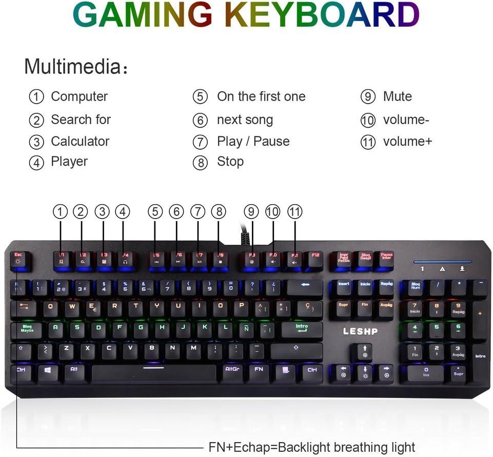 Teclado Mecánico Gaming,105 Teclas y Switches Blue con Cable y 6 Colores RGB Retroiluminado, Teclado Mecánico Español para Windows 2000/ XP/VISTA/7/8