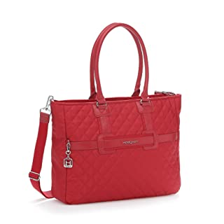 """Hedgren Andreia 16"""" Laptop Business Tote Bag, Slide-On Luggage Trolley Handle Sleeve, 18.5"""" x 12.4"""" x 4"""", Womens, New Bull Red"""