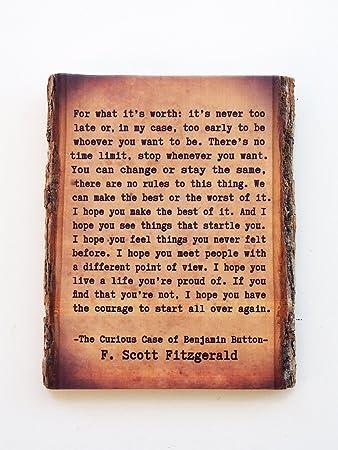Amazoncom F Scott Fitzgerald Live Edge Wood Sign Its Never