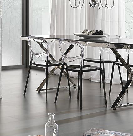 Tavolo Luxury Vetro Nero E Acciaio Lucido Design Prezzo Outlet Sconto Promo Online Amazon It Casa E Cucina
