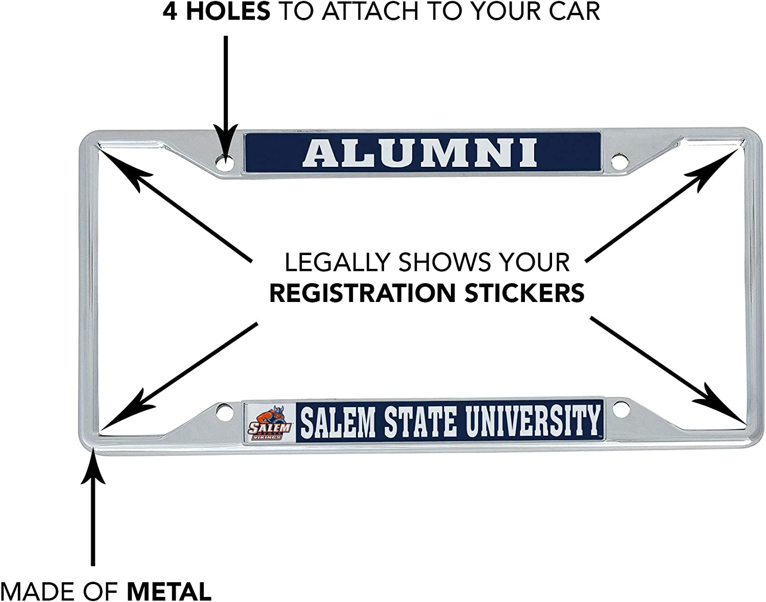 Alumni Desert Cactus Salem State University Vikings NCAA Metal License Plate Frame for Front or Back of Car Officially Licensed