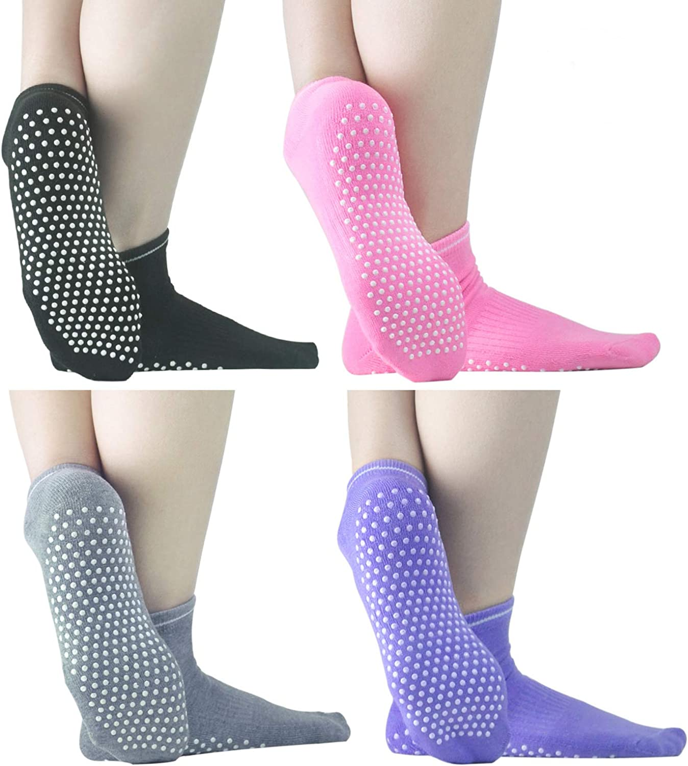 Sticky Grippers Non Skid Socks ELUTONG 2/4 Pack Floors Slip Socks For/Men/Women