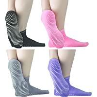 Sticky Socks Barre For Men Women - ELUTONG 4 Pack Pilates Non-Skid Warm Piyo Sox
