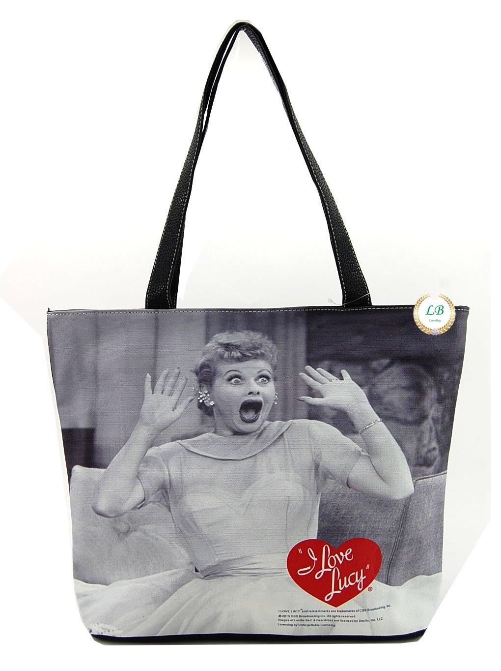 I love Lucy Large Tote Bag, Licensed Handbag (Black)