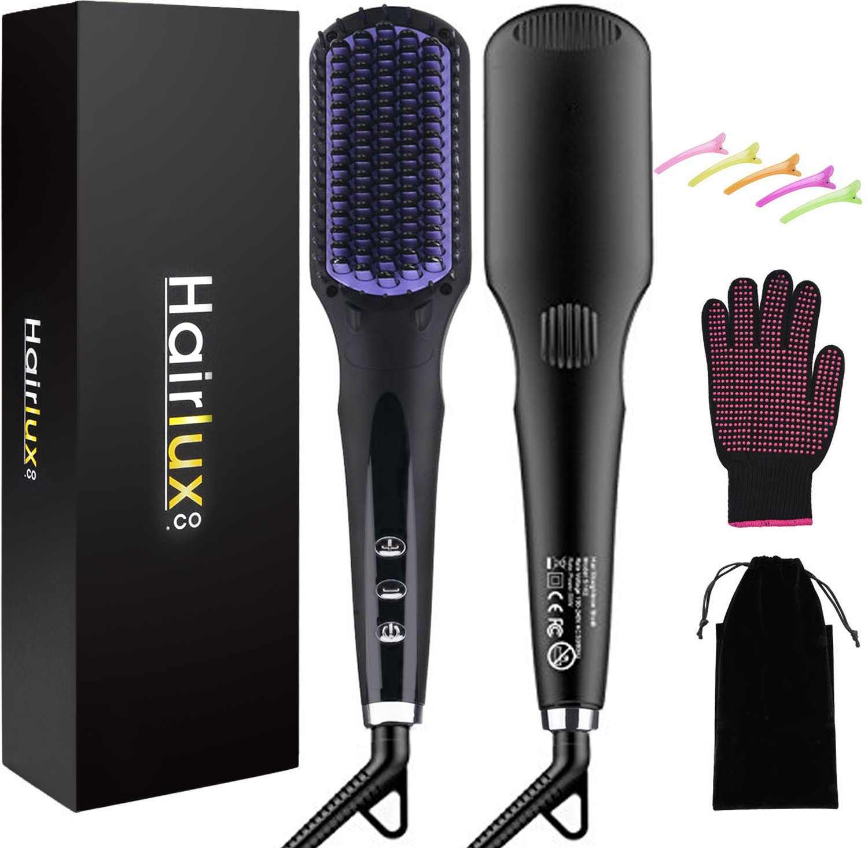 Hair Straightener Brush,Kapmore 2 in 1 Ionic Hair Straightening Brush with Heat Resistant Glove and 5 Pcs Hair Clips(Anti-scald & Anti-Static, Fast Heating)