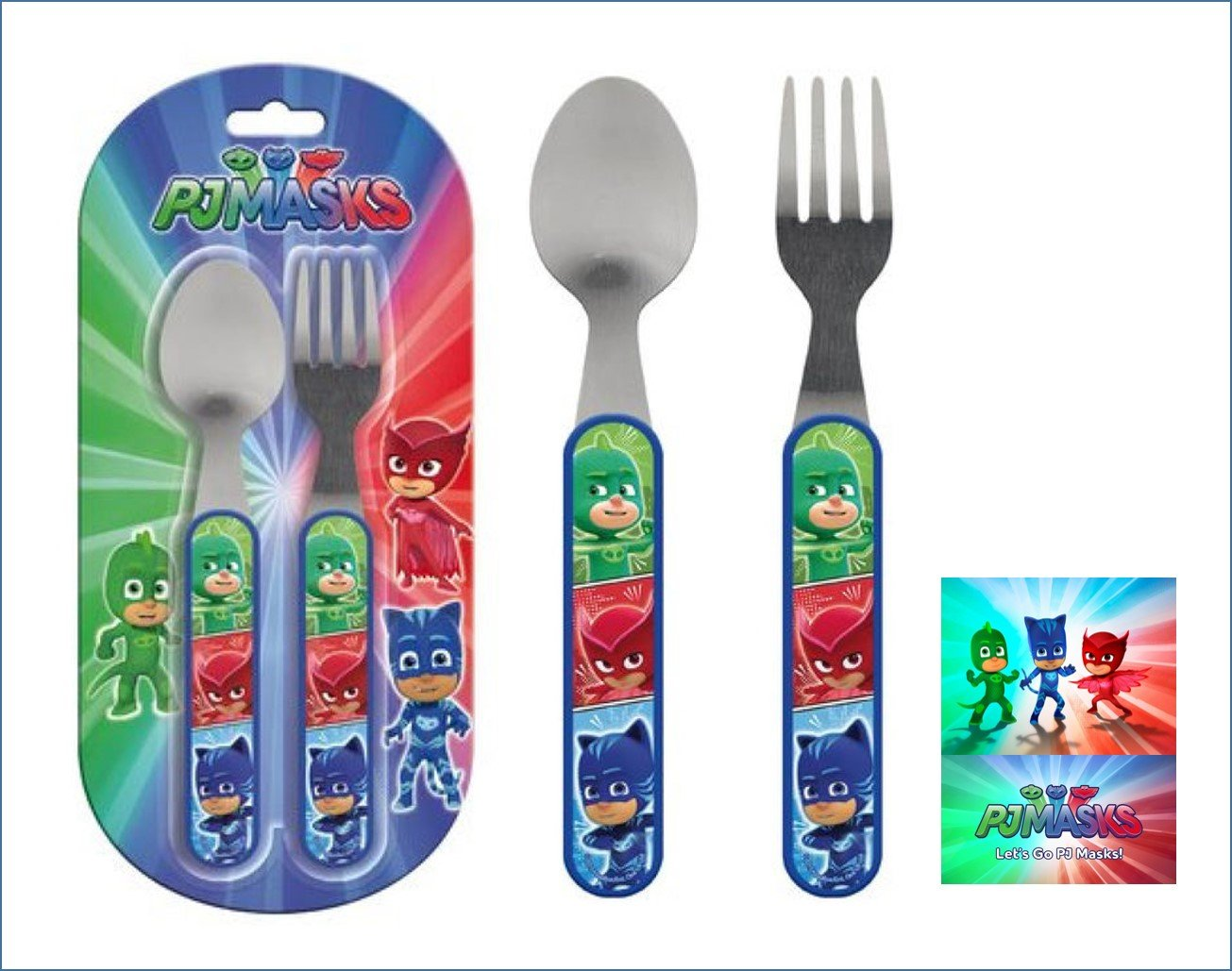 Kids stainless steel cutlery set spoon and fork Disney P J Masks: Amazon.es: Juguetes y juegos