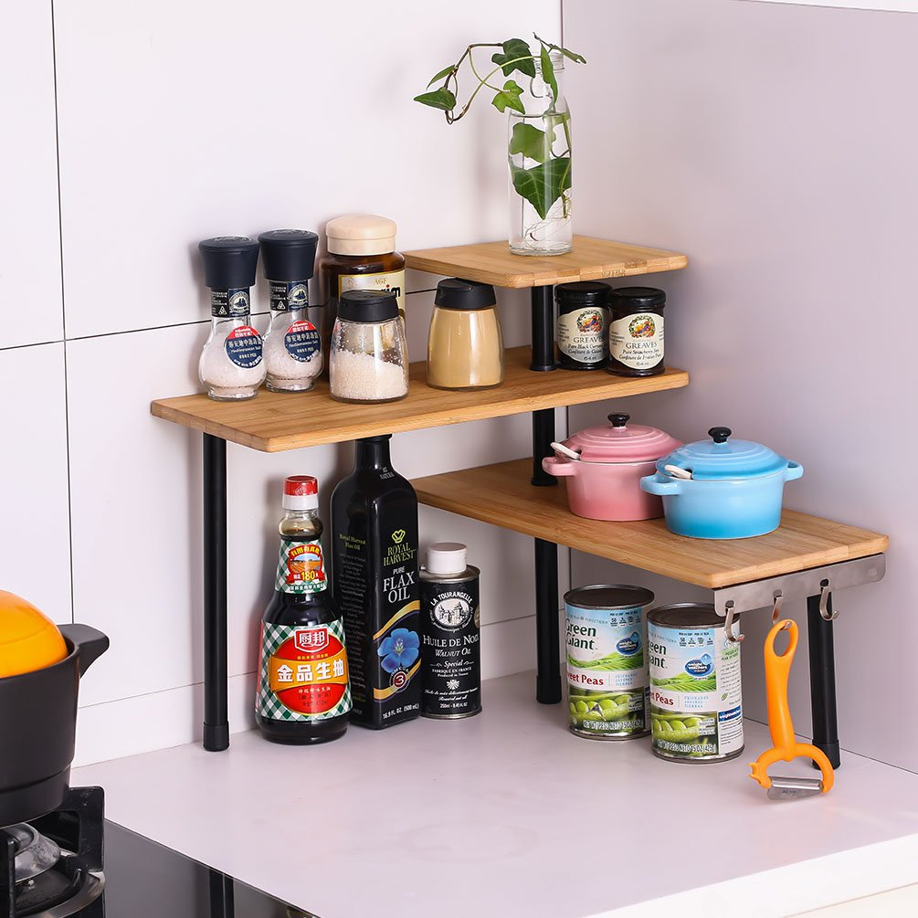 Corner Shelf Storage Rack Organizer with 3 Hooks, Kitchen Spice Racks