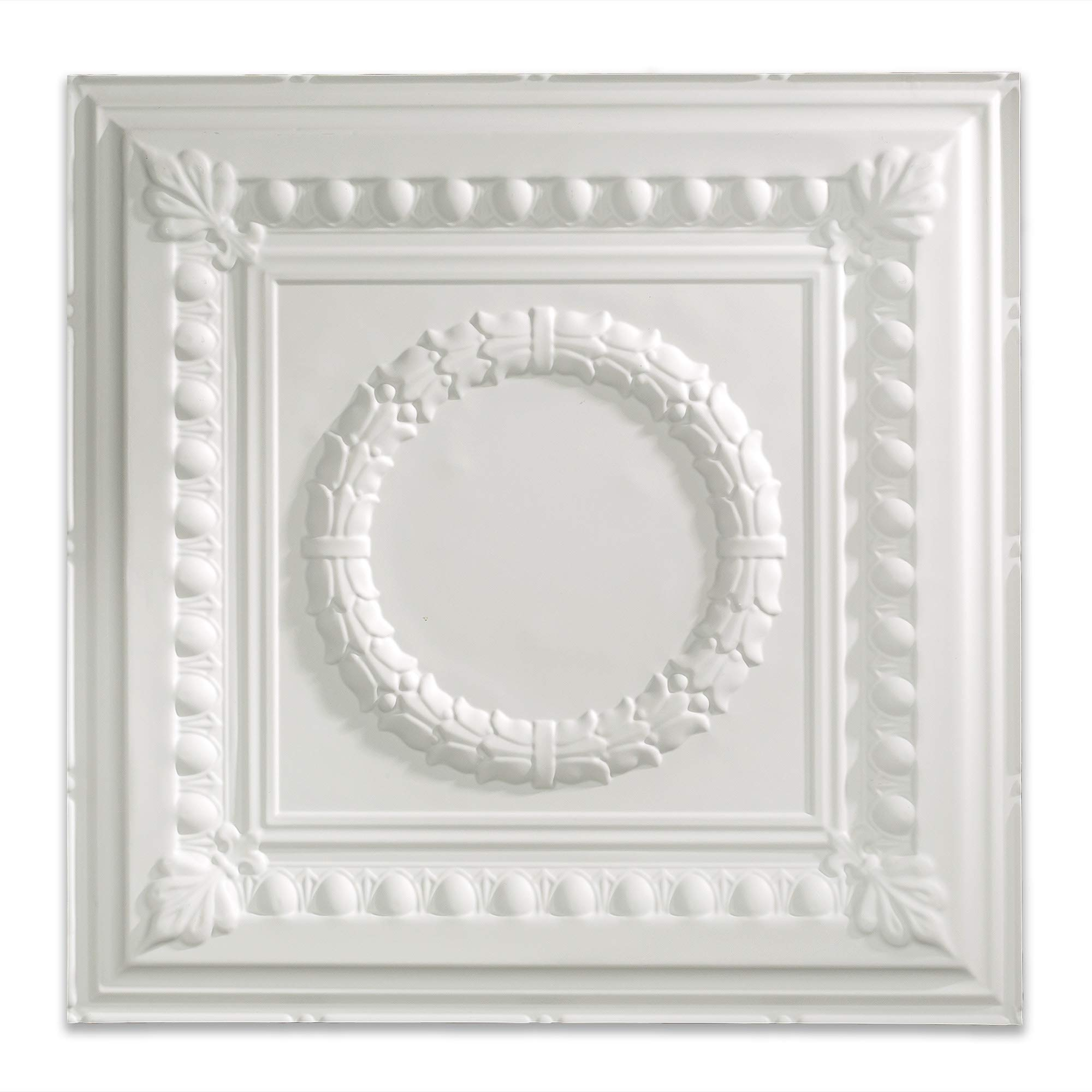Fasade Easy Installation Rosette Gloss White Lay In Ceiling Tile / Ceiling Panel (2' x 2' Tile)