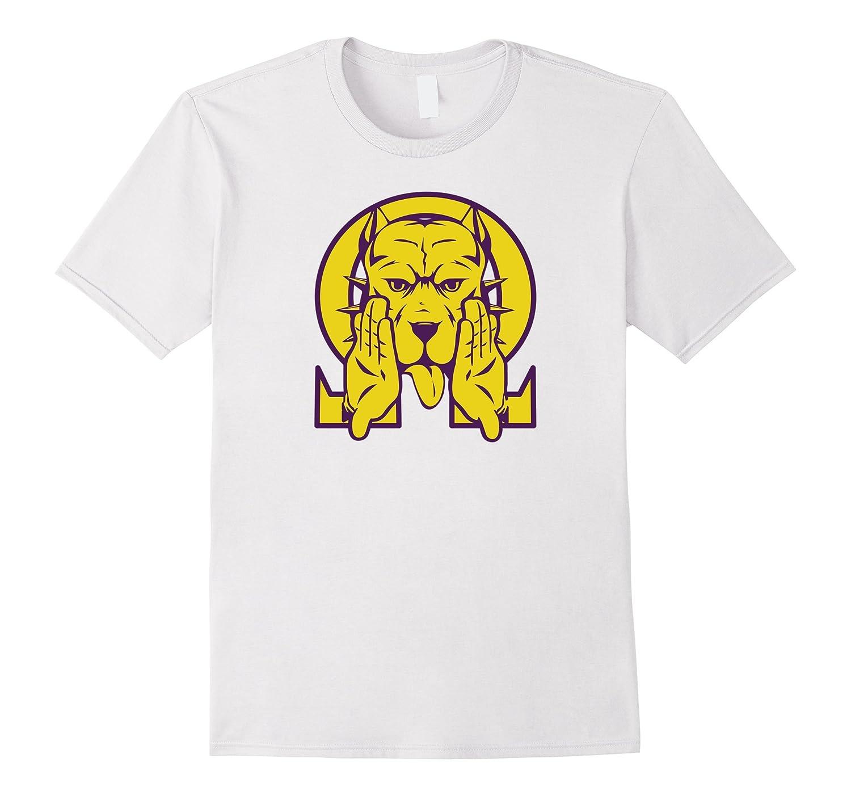 Mens Omega Bulldog Purple Gold Que Atomic Dog Psi Phi T-Shirt 2-FL