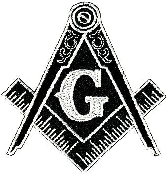 amazon masonic logo patch black iron on embroidered freemason G Company Logo with Two masonic logo patch black iron on embroidered freemason mason g square pass