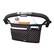 Bojeri Stroller Organizer Caddy with Cup Holders and 3 Pockets, Universal Stroller Organizer Fits Any Single Stroller, Baby Stroller Bag for Extra Stroller Storage
