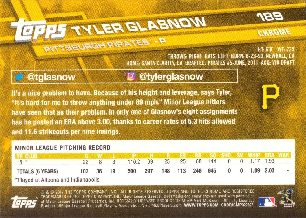 2017 Topps Chrome Baseball #189 Tyler Glasnow Rookie Card