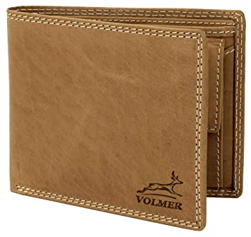 01a92fbffb7fa Volmer ® Schlanke Büffelleder Geldbörse Usedlook mit RFID-Schutz   16112-Camel