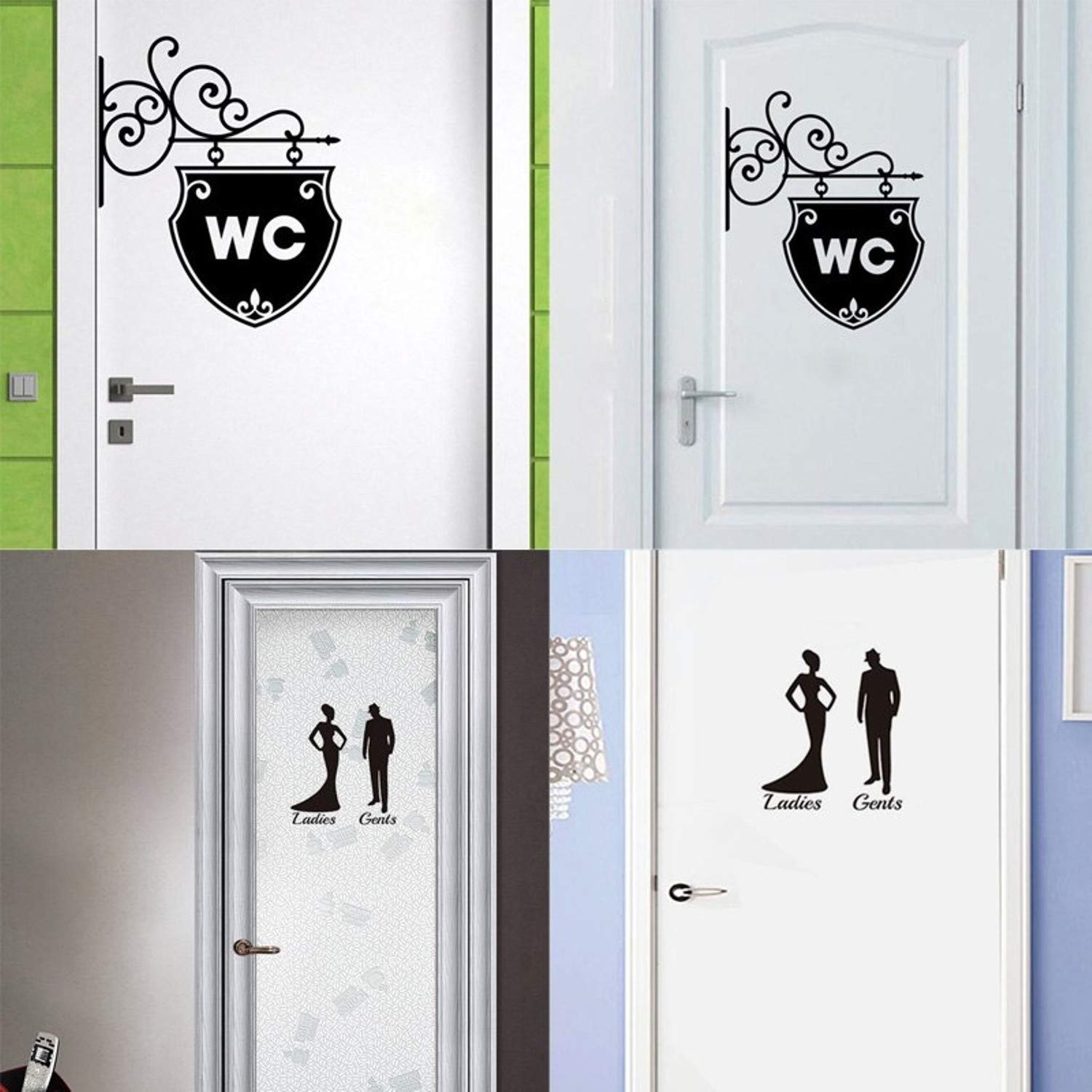 Amazon.com: Batop 3D Mirror Sticker - Funny WC Toilet Door Entrance Sign Men Women - Bathroom DIY Wall Sticker Decals Bar Home Decor (Black Style 2): Home & ...