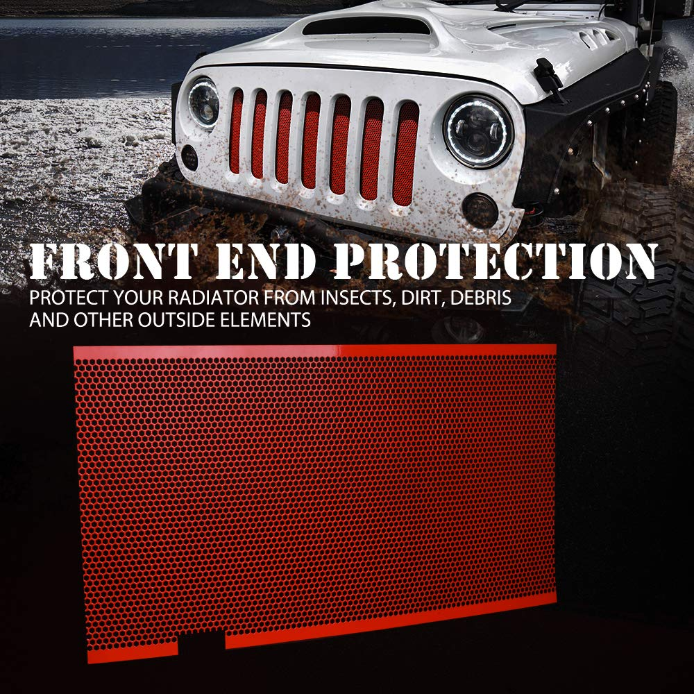 Xprite Stainless Steel Mesh Grill Insert American Flag Matte Steel Mesh Grille Grid with Hood Lock Hole for Jeep Wrangler JK JKU 2007-2018