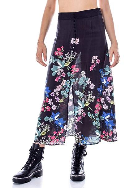 Desigual 19WWFW13BLACK Viscosa - Falda para Mujer, Color Negro ...