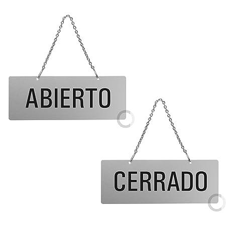 Placa Aluminio | Cartel para Colgar Abierto - Cerrado | 175x65 mm | auténtico Ofform | No.31209