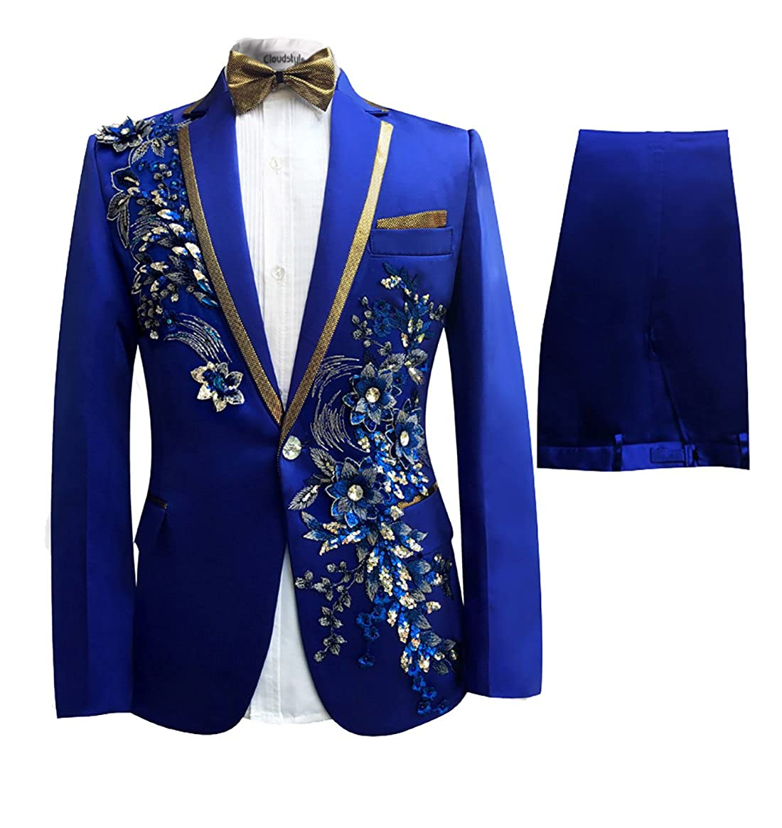 Cloudstyle Mens Notched Lapel Allover Wedding Concert Brithday Party Bling Blazer Party Suits Tuxedo ZQ-WT0037