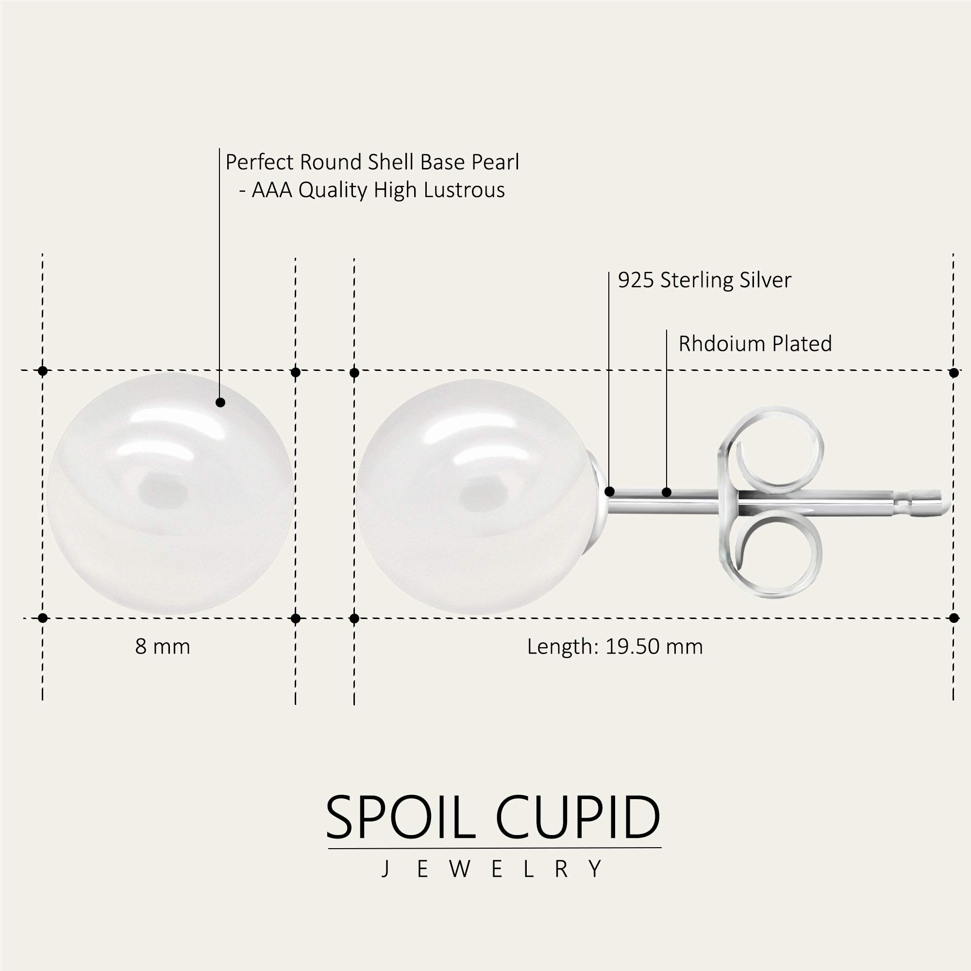White Smooth Round Shell Base Imitation Pearl Rhodium-Plated 925 Sterling Silver Stud Earrings, 8mm