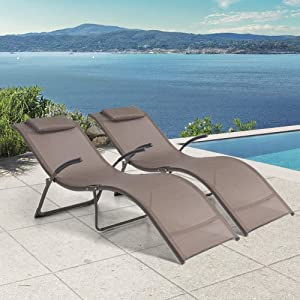 Crestlive Products Aluminium Patio Chaise Lounge Chairs, Outdoor Portable Folding Lounges, All Weather Furniture in Brown Finish for Lawn, Beach, Deck, Poolside Sunbathing(2 PCS Brown)