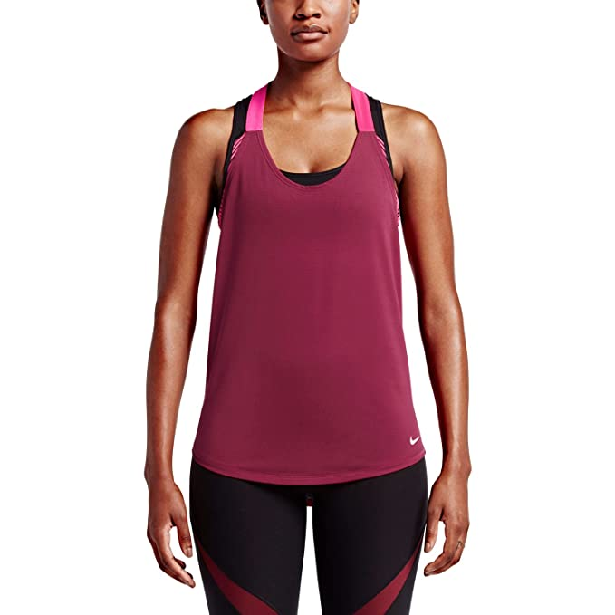 Nike Women s Training Tank Noble Red Hyper Pink White Size Medium 602140b2e