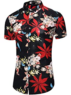 Mioubeila Mens Short Sleeve Floral Print Shirt