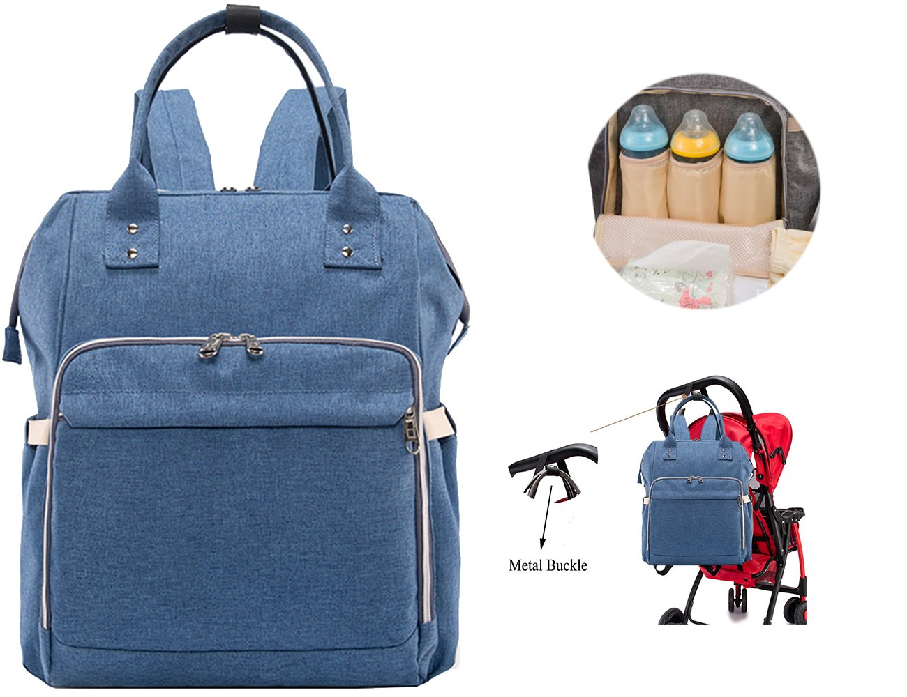 11c540ab23e1 iSuperb Diaper Bag Multi-Function Large Baby Nappy Changing Bag Carry On  Shoulder Bag with Insulated Pockets Waterproof Fabric Backpack (Linen Blue)