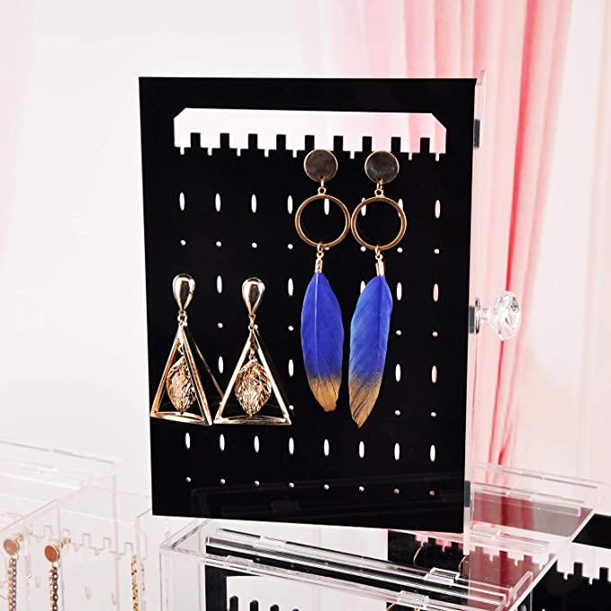 Porte Bijoux Boucle doreille en Pr/ésentoir Rangement Boucles Doreilles Bo/îte de Rangement Transparent avec 3 Tiroirs Blanc Laiteux