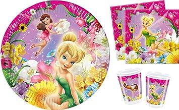Disney - Campanilla Disney - Juego de Vajilla para fiestas cumpleaños para 8 niños