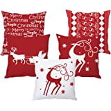 the purple tree Christmas Polyester Blend Cushion Cover (Standard Size, 5 Pieces, Multicolour)