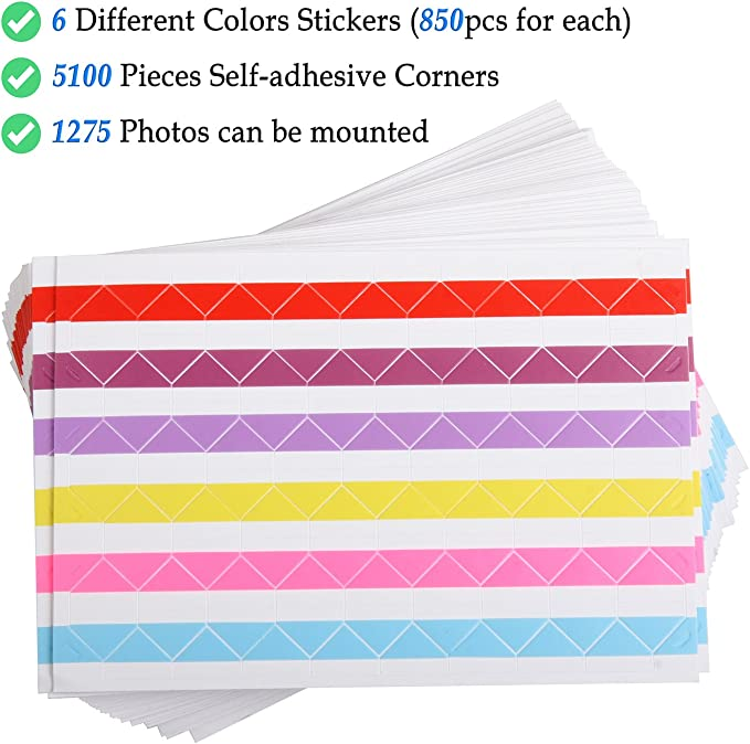 6 Colors 50 Sheets Photo Mounting Corner Stickers for Polaroid Hold 1275 Photos Instax Foto of DIY Picture Scrapbook and Recollections Photo Album ADVcer 5100 pcs Self Adhesive Photo Corners