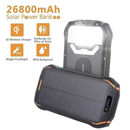 Amazon.com: AMAES Cargador solar 26800 mAh, cargador ...