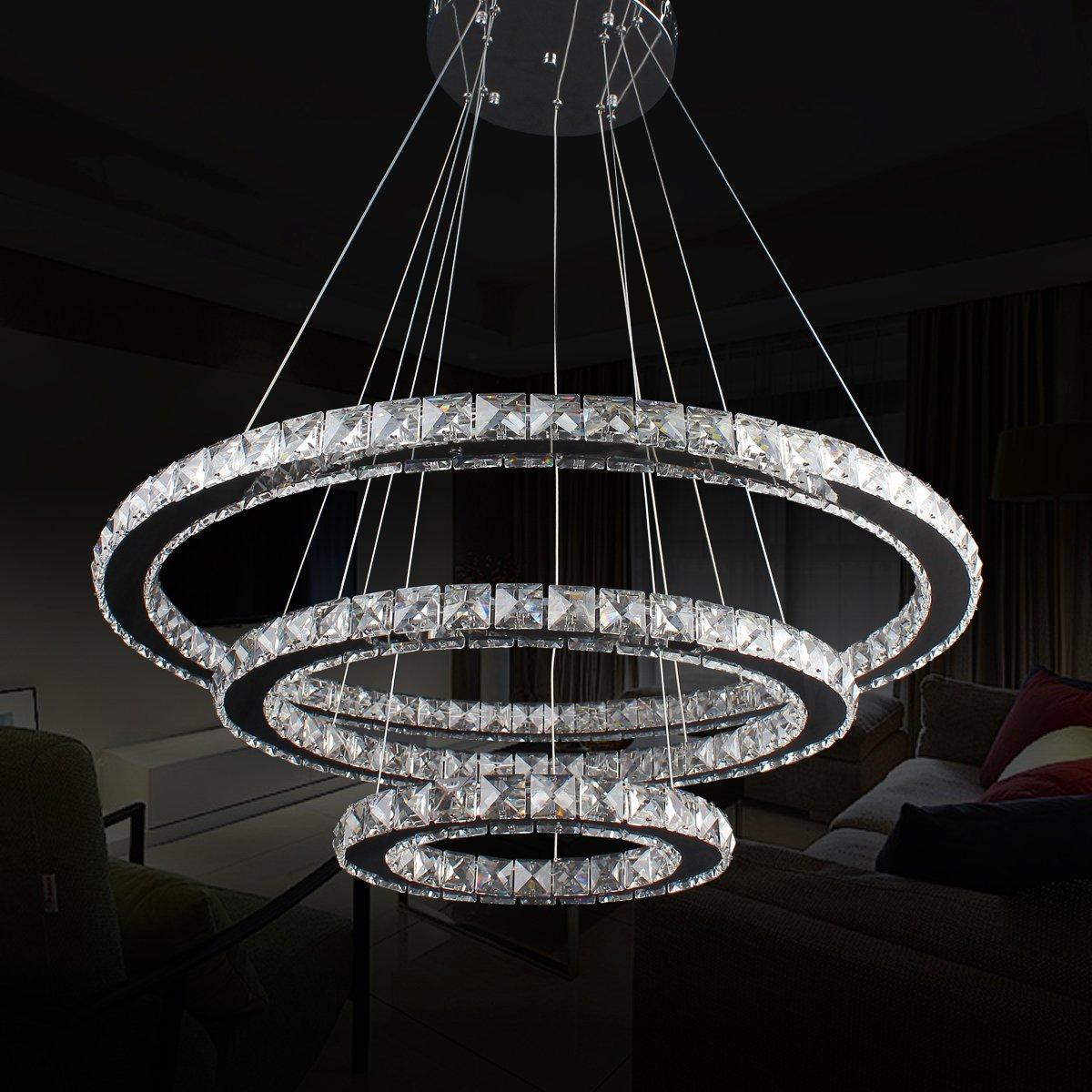 Led 3 Ring Chandelier: Mumeng LED Pendant Lamp Ceiling Lighting 3 Rings Dimmable
