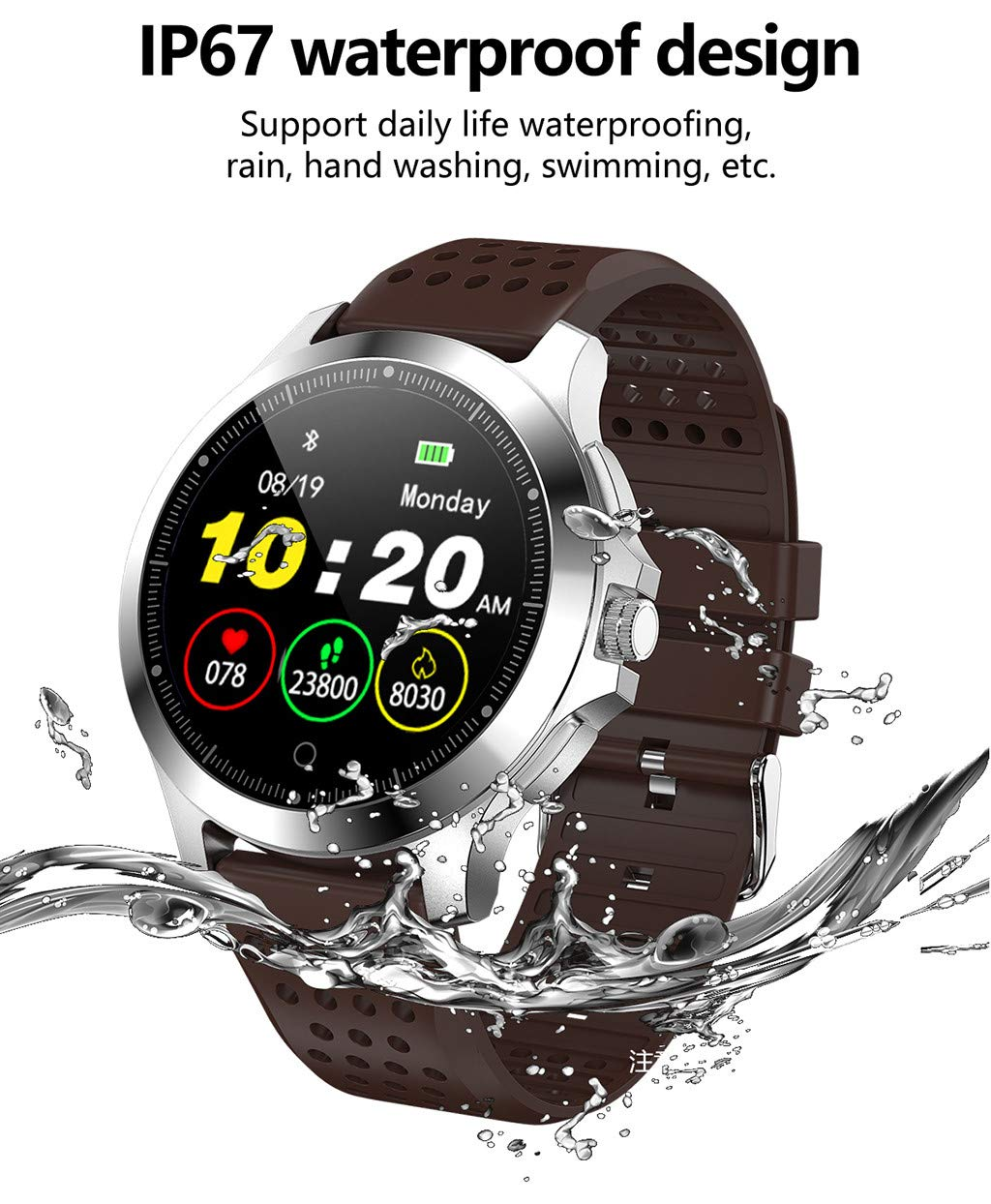FEDULK Smart Watch Color Screen ECG and PPG IP67 Sports Stopwatch Health Smartwatch for Android iOS(Brown) by FEDULK