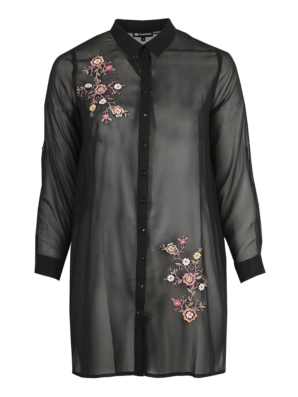 6bef8d8da Lovedrobe Koko Women's Plus Size Black Embroidered Sheer Longline Shirt  (24): Amazon.co.uk: Clothing